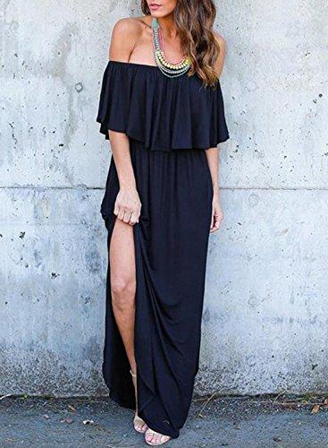 Off Black Achicgirl Maxi Short Pockets Ruffle Sleeve Dress With Women's Shoulder Solid B1aqxg1