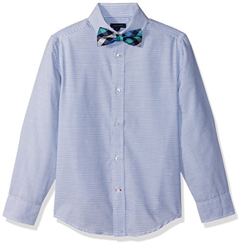 oys' Long Sleeve Stretch Dress Shirt with Bow Tie, White, 12 ()