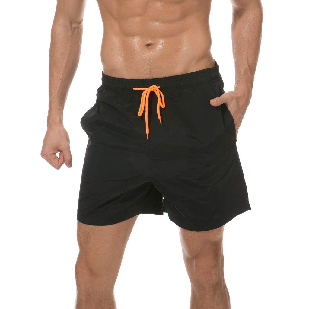 F_Gotal Men's Swim Trunks Quick Dry Board Shorts Solid Waist Swimming Shorts with Pockets Beach Swimwear Bathing Suits Black