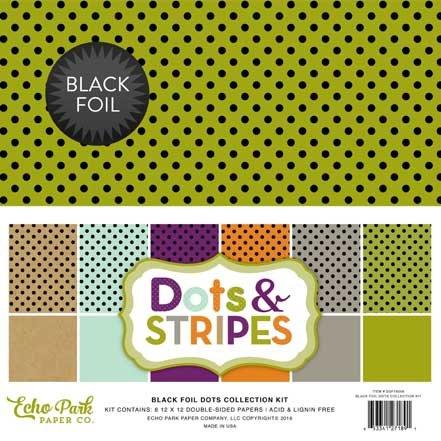 Echo Park Paper Company DSF16056 Black Foil Dot Collection (Paper Halloween Stripe)
