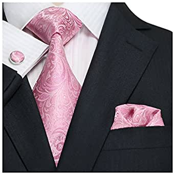 "Landisun SILK Paisleys Mens SILK Tie Set: Tie+Hanky+Cufflinks 62C Slight Light Pink, 3.25""Wx59""L"