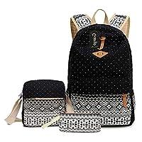 ABage School Bag 3 Backpack Set Student Bookbag with Shoulder Bag and Pencil Case for Teen Girls and Boys, Black