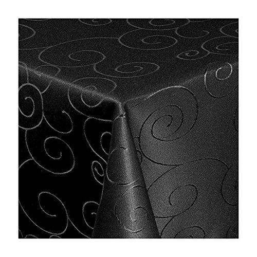 TEXMAXX Damast Tischdecke Maßanfertigung im Ornamente-Design in schwarz 140x320 cm eckig, weitere Längen sind wählbar