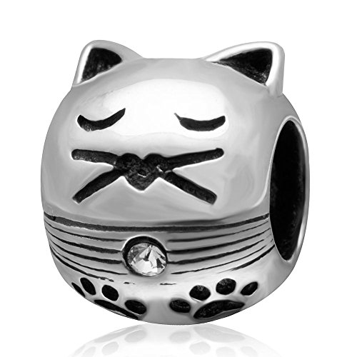 Crystal Cat Charms 925 Sterling Silver Cute Animal Cat with Pawprint Charms for European Bracelet