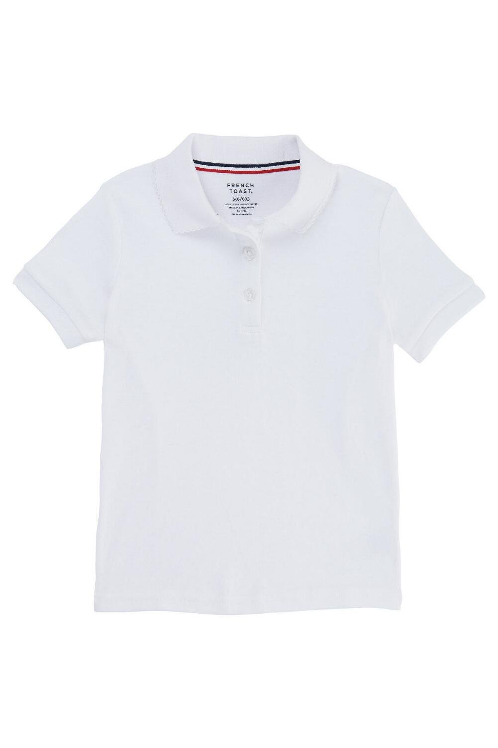 French Toast Big Girls' Short Sleeve Interlock Polo with Picot Collar, White, XX-Large/18/20