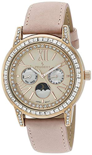 Peugeot Women Crystal Bezel Dress Watch, Day Date Moon Phase Function and Mother of Peal Dial with Roman Numeral, Pink Suede Strap ()