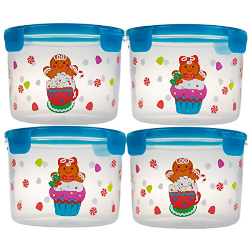 44 Oz Plastic Jar (8pc Lock & Lock Holiday Plastic Food Storage Containers With Lids Set in Christmas Gingerbread Cookie)
