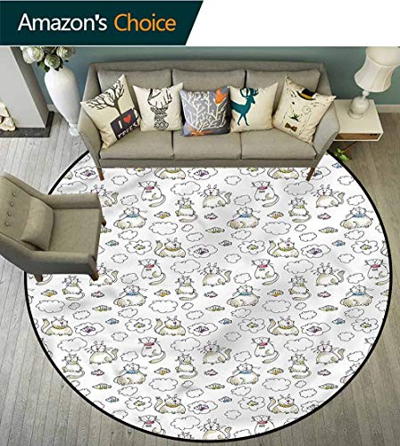 (RUGSMAT Sketch Anti-Skid Area Rug,Chubby Kitties Puffy Clouds Perfect for Any Room, Floor Carpet Round-47)