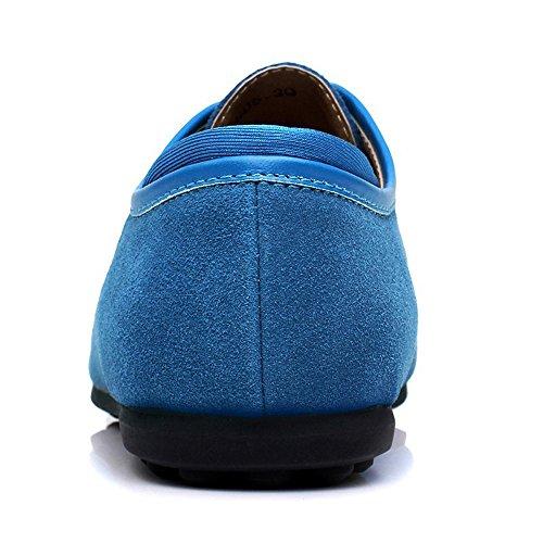 Yzhyxs Heren Suede Koe Lederen Mode Sneakers Hemelsblauw