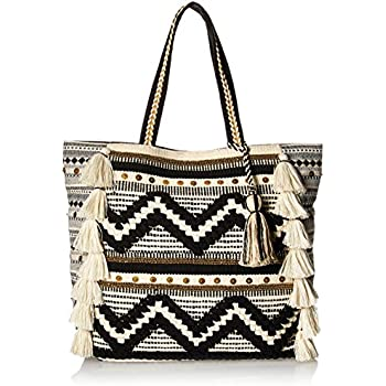 4dd51401020 Steve Madden Raine Bohemian Tasseled Chevron Patterned Fabric Tote, Beach  Bag, Black/White