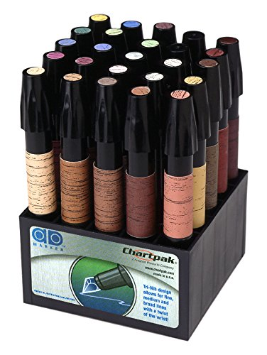 Chartpak Wood Frame Touch-Up Markers, Tri-Nib, 25-Color Set in Tabletop Cube, 1 Each (FTM25) by Chartpak