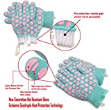JH Heat Resistant Cooking Glove:EN407 Certified 932 °F, 2 Layers Silicone Coating, Turquoise Shell with Pink Coating, BBQ & Oven Mitts For Kitchen, Fireplace, Grilling, 1 Pair, Women Fits All