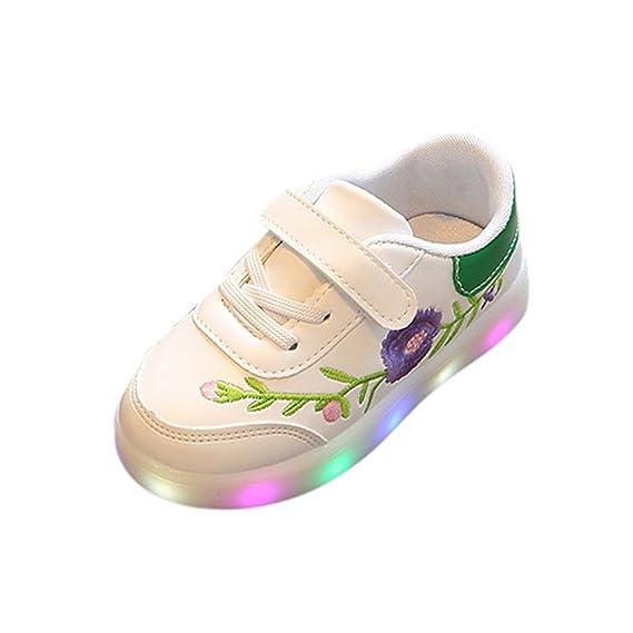 YanHoo Zapatos para niños Flores Infantiles Luces LED Zapatos pequeños Zapatos Toddler Kids Sport Running Baby Boys Girls Flor Zapatos Zapatillas ...