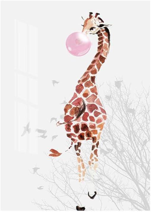 Impresión en lienzo Cartel Dormitorio nórdico Pintura Rosa Burbuja Jirafa Niño Animal Arte de la pared Guardería Niño Habitación del bebé Decoración 50x75cm Sin marco