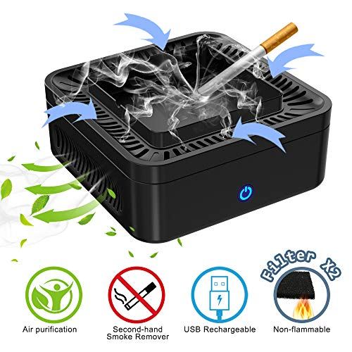 GoStar Smokeless Ashtray Air Purifier Multifunctional Negative Ion Air Fresher Odor Secondhand Smoke Remover USB Rechargeable for Car/Indoor/Outdoor- 2 Pcs Filter Included.