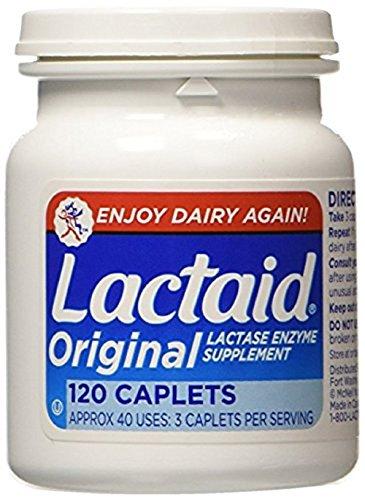 Lactaid Original Strength Lactase Enzyme Supplement, Caplets - 120 ea (Pack of 4)