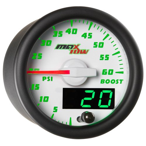 MaxTow Double Vision 60 PSI Turbo Boost Gauge Kit - Includes Electronic Pressure Sensor - White Gauge Face - Green LED Illuminated Dial - Analog & Digital Readouts - for Diesel Trucks - 2-1/16 52mm