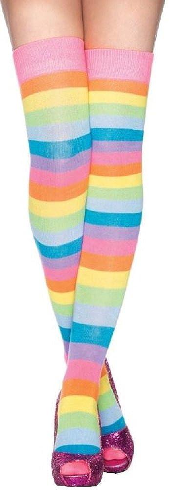 Leg Avenue Damen Halterlose Strümpfe Regenbogenfarben mit Querstreifen Einheitsgröße 36 bis 40 Leg50922489193