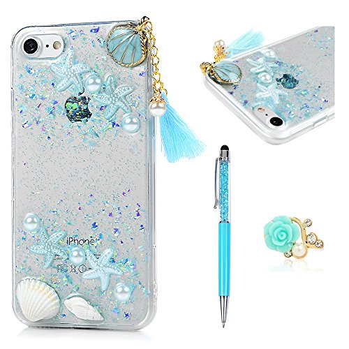 - iPhone 7 Case, MOLLYCOOCLE 3D Handmade Glitter Bling Sparkle Case for iPhone 8 with Clear Transparent Silicone TPU Bumper Slim Protective Cover for Girls Women Summer Ocean Beach Style