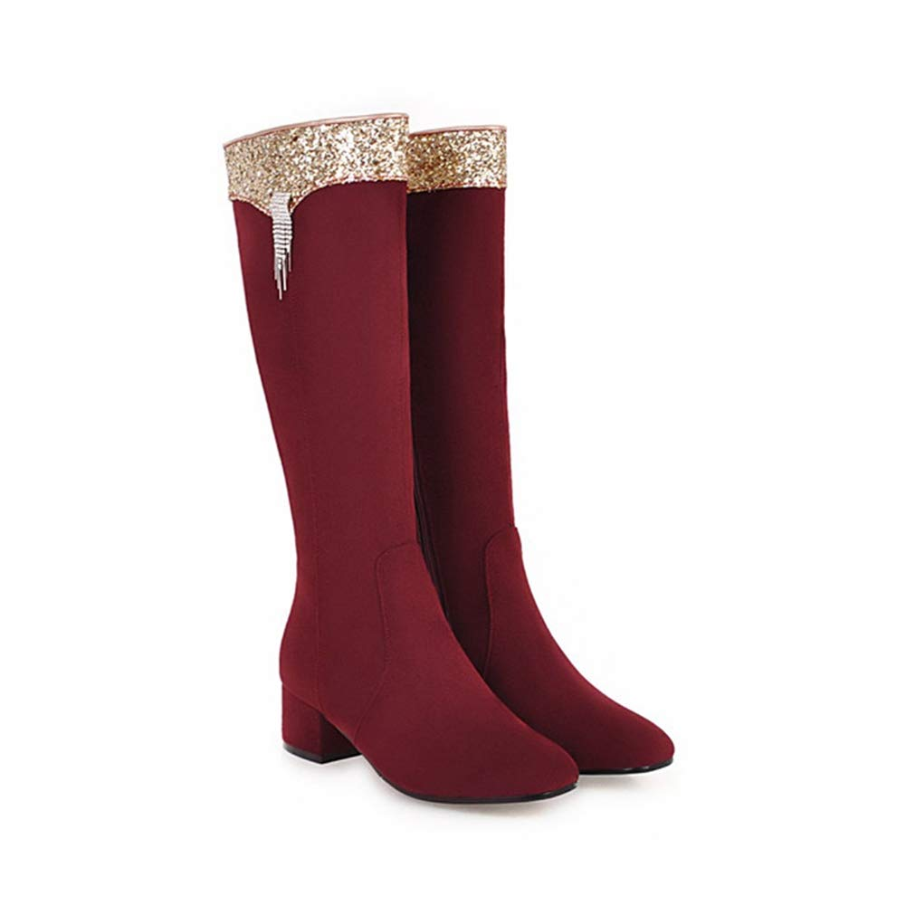 Wine Red T-JULY Winter Knee High Boots for Women Bling Thick Heel Square Toe Riding Fringe Long Zip shoes Red Black