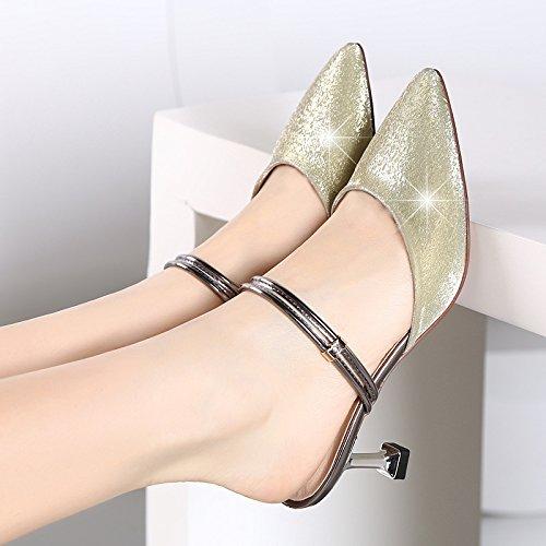 SHOESHAOGE Sandales Femme La Mode, Avec L'Extrémité De La Mariage Et La Haute-Talon De Froid En Plein Air EU36/UK3.5-30