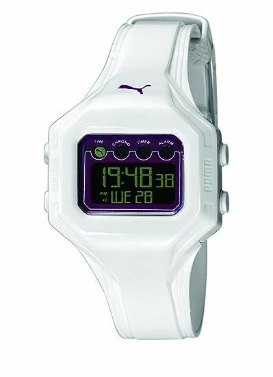 Puma PU910772004 - Reloj Digital de Cuarzo para Mujer, Correa de plástico Color Blanco: Amazon.es: Relojes