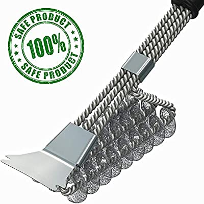 Grill Brush – BBQ Brush – BBQ Grill Cleaning Brush with Scraper – Grill Cleaner – Safe Bristle Free Barbecue Grill Brush for Porcelain Propane Electric Infrared Stainless Steel Gas Iron