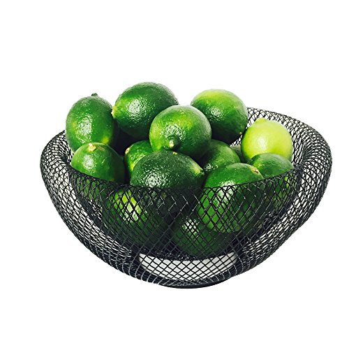 WHW Whole House Worlds Iconic Modern Wire Mesh Fruit Bowl, Museum Style, Medium, 9 1/2 Inches, Powder Coated Iron