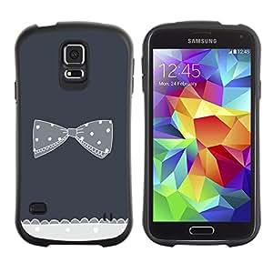 Suave TPU Caso Carcasa de Caucho Funda para Samsung Galaxy S5 SM-G900 / bow bowtie grey crocheted polka dot / STRONG
