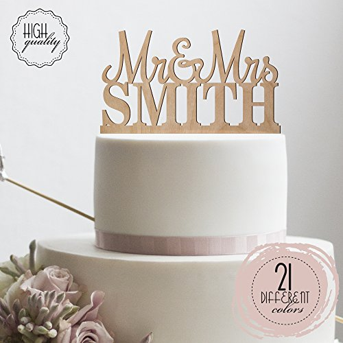Price comparison product image Mr & Mrs Personalized Wedding Cake Topper Custom Made Wedding Favor Customized Last Name Topper For Wedding Cake / Wooden Cake Toppers