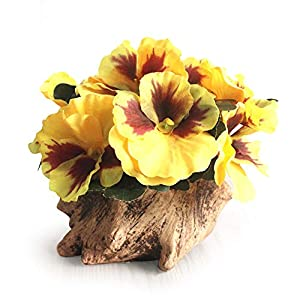 Riverbyland Artificial Flower Silk Pansy with Wood Flowerpot House Decorations Ornaments Yellow 60