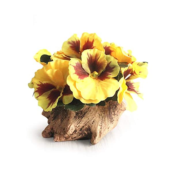 Riverbyland Artificial Flower Silk Pansy with Wood Flowerpot House Decorations Ornaments Yellow
