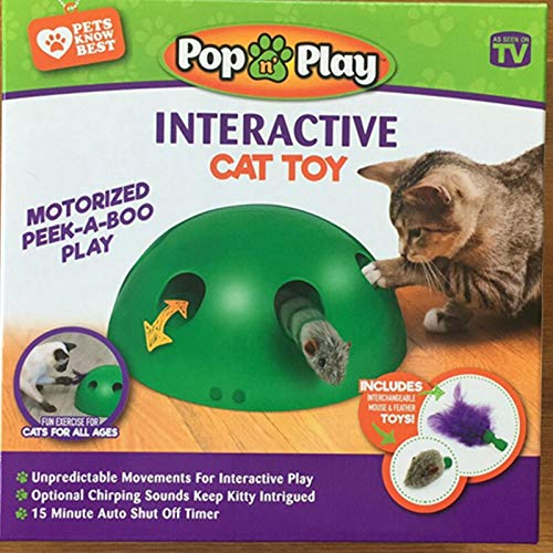 Cat Interactive Motion Cat Toy, Round Electronic Smart Random Moving Feather & Hamster Teaser, Mouse Sound Optional Auto Shut Off, Great Cat Toys- Popandplay- Boo Pop- Cat Toys Funny 2
