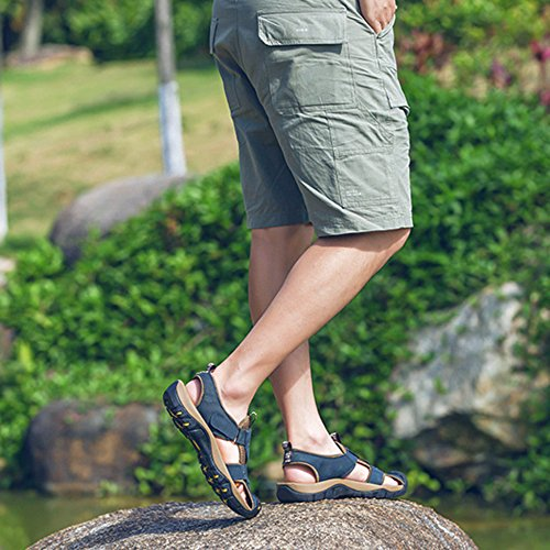 Alpinismo Da Casual Sandali Vera Piscina Estate Chiusi All'aperto Scarpe Pelle Per Uomo Scarpe L'escursionismo Spiaggia Antiscivolo Blue Romane 8qqaxv