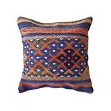"Unique Handmade Decorative Kilim Pillow Cover. Multiple Designs, 100% Woven, from Turkey. Authentic Boho Home Deco. Colorful case Cushion with Hidden Zipper 16×16""/ 40×40 cm (Flor)"