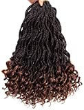 Senegalese Twist Crochet Hair Wave Curly Synthetic Braiding Braids Hair High Temperature Kanekalon Ombre Hair Extensions 6Packs 30Strands/Pack (16, T1B/30)
