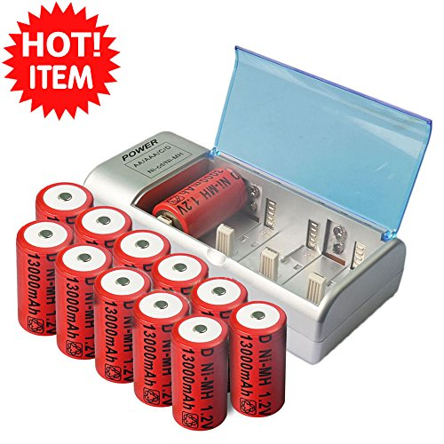 12x d size 13000mah rechargeable battery ni-mh+ c d aa size univeral charger work for both ni-mh and ni-cad batteries