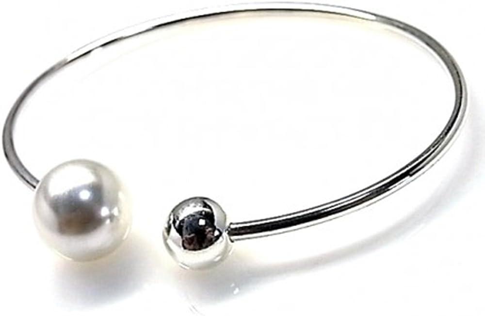 Minoplata Pulsera de Plata rígida con Perla y Bola Preciosa para una Mujer Que Adora Las Joyas Sencillas Pero Elegantes, es Ideal para Hacer