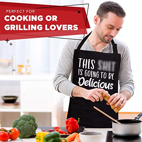 Funny Cooking Apron For Men – Funny Birthday Gifts For Dad, Grilling Aprons For Men Funny, Funny Gag Gifts for Adults…