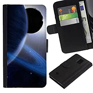 Billetera de Cuero Caso Titular de la tarjeta Carcasa Funda para Samsung Galaxy S5 Mini, SM-G800, NOT S5 REGULAR! / Saturn Rings Blue Planet Alien Sun Solar System / STRONG
