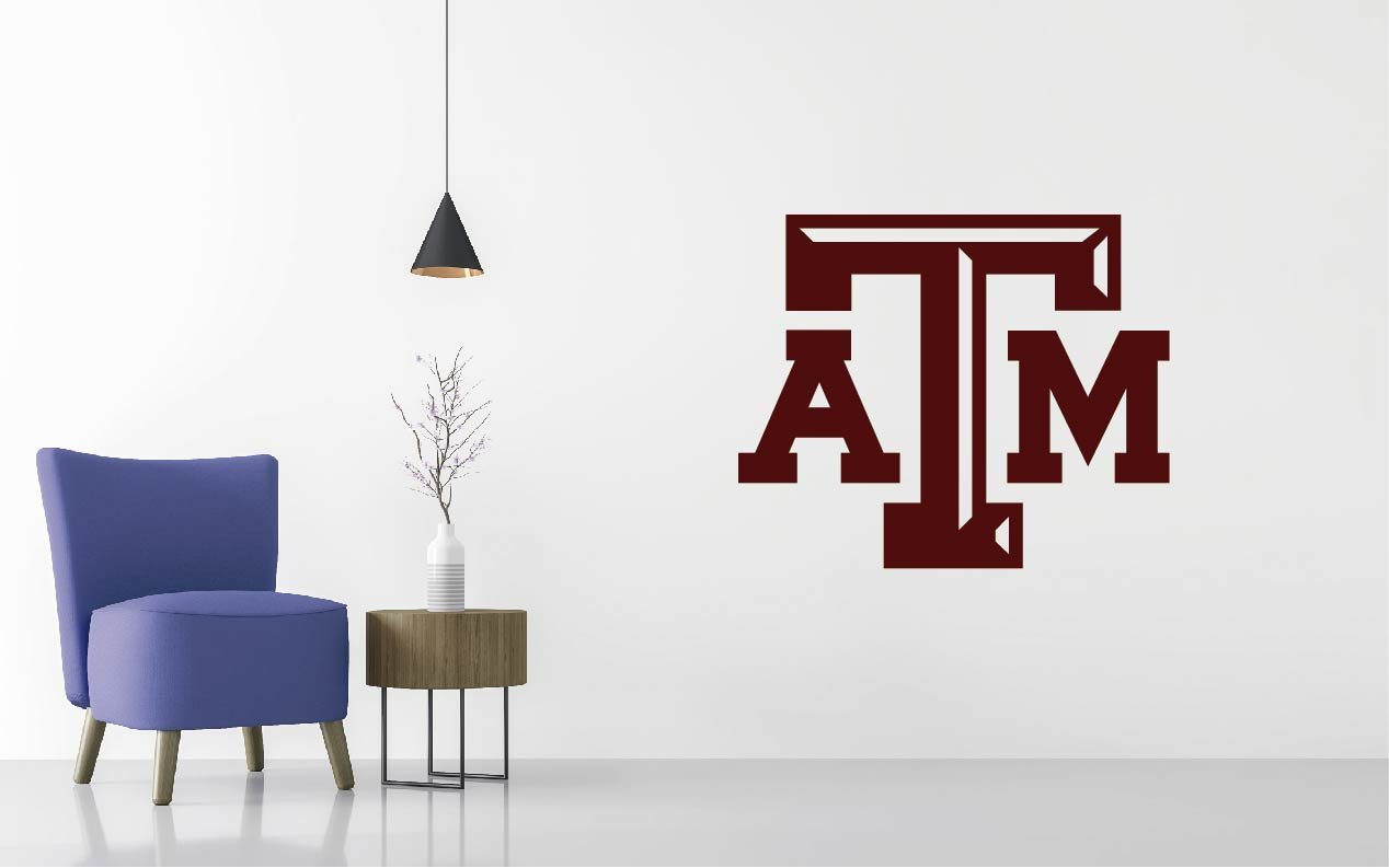 Texas A&M - Football Team Logo - Wall Decal Removable & Reusable For Home Bedroom (Wide 40'' x 33'' Height)
