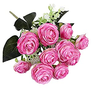 Forart Artificial Rose Bouquets Fake Silk Rose Flowers Decoration for Table Home Office Wedding 12