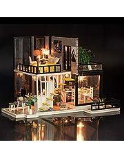 لعبة منزل دمى سبتمبر فورست خشبي مصغر واثاث يمكنك تركيبك بنفسك تتكون من عرفة نوم للبنات ومطبخ مع سلالم من مينستاي