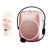 Portable Voice Amplifier, SHIDU S308 Ultra-Clear Rechargeable Amplifiers, Powerful Compact and Comfortable Wired Headset Microphone for Teachers, Kindergarener, Tour Guides, Coaches and More (Rose Gold)