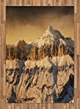 Mountain Area Rug by Ambesonne, Surreal Saturated Photo of the Italian Twin Mountain Peaks with Silent Overcast Sky, Flat Woven Accent Rug for Living Room Bedroom Dining Room, 5.2 x 7.5 FT, Sepia