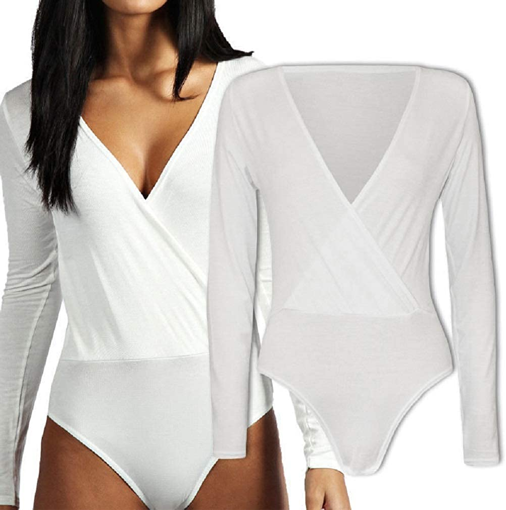 M/&M METLUQ M0D4 Womens Ladies Wrap Over V Neck Plunge Bodysuit Long Sleeve Leotard Plain Stretch