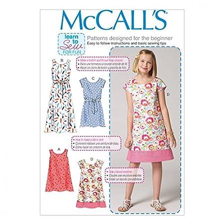 McCalls Girls Easy Sewing Pattern 7111 Simple Dresses & Belt: Learn ...