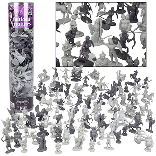 SCS Direct Fantasy Creatures Action Figure Playset - 98pc Monster Toy Collection (Includes Dragons