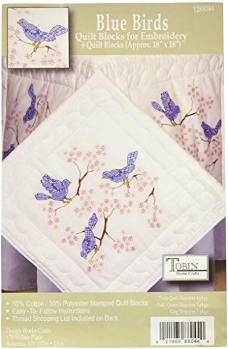 - Tobin T288044 Stamped Quilt Blocks Cross Stitch Kit, 18 by 18-Inch, Blue Birds, White, 6 Per Package