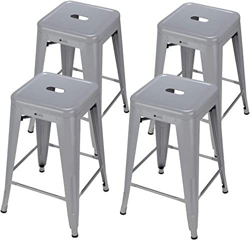Homegear 4 Pack Stackable Metal Kitchen Bar Stools Chairs Silver